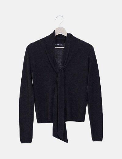 Jersey tricot negro detalle lazada