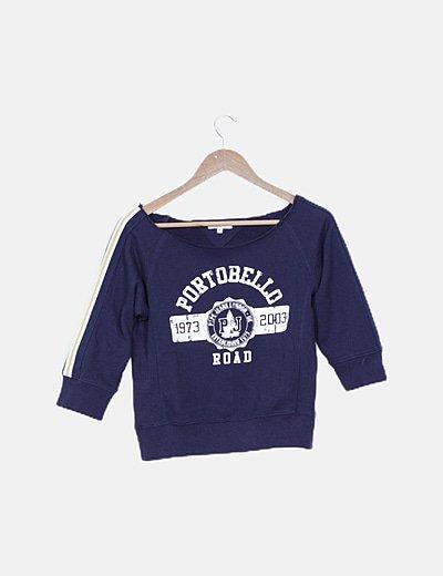 Jersey corto azul marino print letras