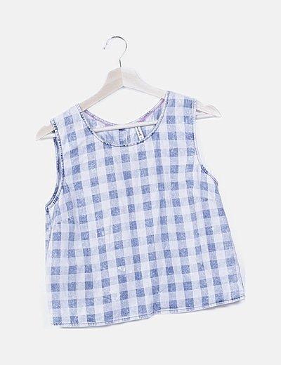 Blusa denim de cuadros azul