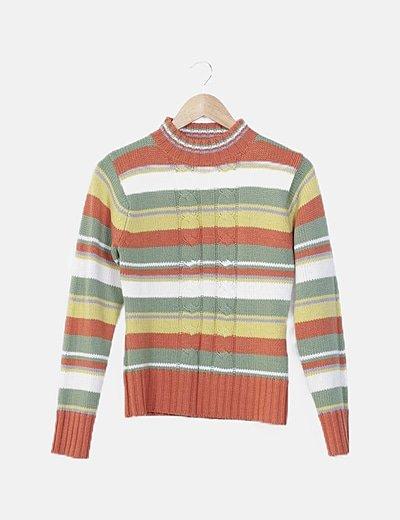 Jersey tricot de rayas combinadas