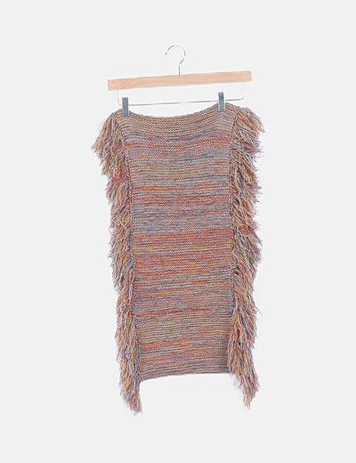 Bufanda lana flecos multicolor