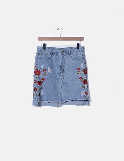 Mini falda denim bordado floral