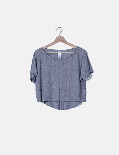 Camiseta oversize gris jaspeada