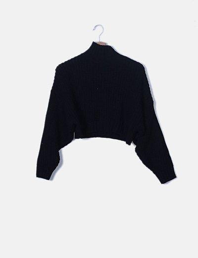 Jersey crop gris cuello alto