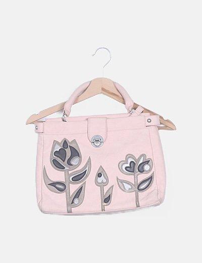 Bolso de hombro rosa bordados florales