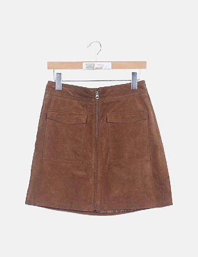 Mini falda ante marrón
