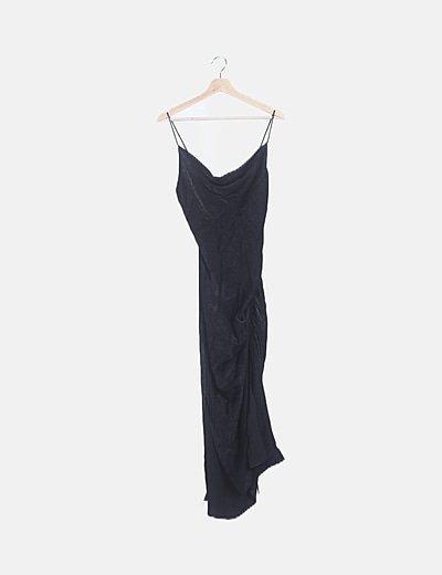 Vestido drapeado satén negro