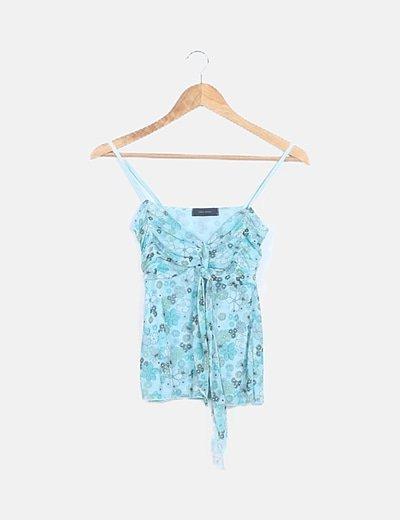 Camiseta turquesa estampado floral