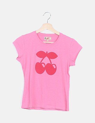 Camiseta rosa estampado cerezas