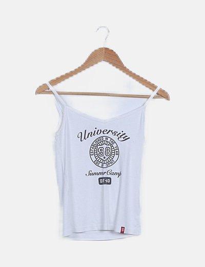 Camiseta blanca tirantes estampada