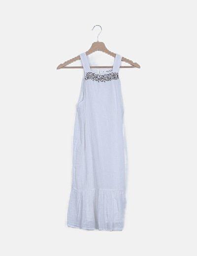 Vestido blanco detalle pedrería