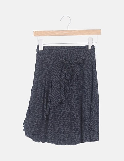 Falda mini estampado gris asimétrica