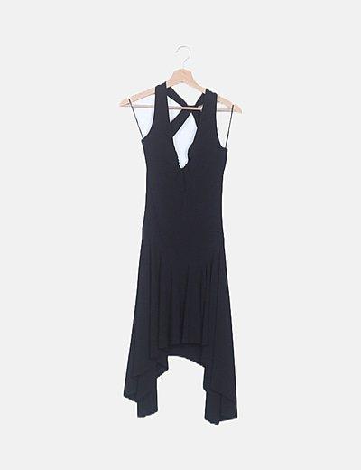 Vestido asimétrico negro escote espalda