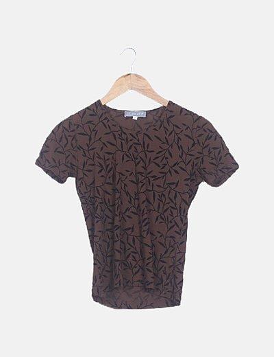 Camiseta marrón texturizada manga corta