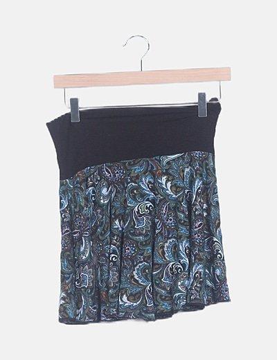 Falda mini negra estampado étnico