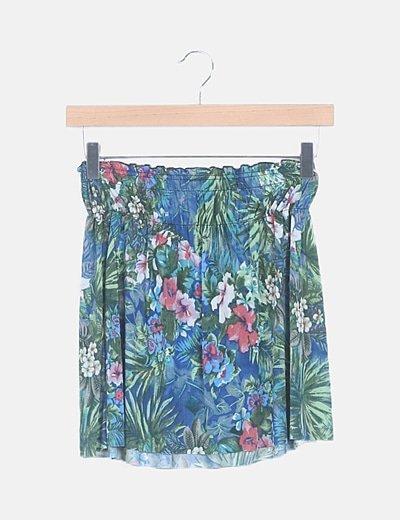 Falda evasé multicolor print floral