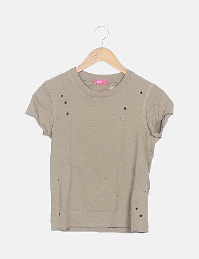 Camiseta de manga corta verde troquelada