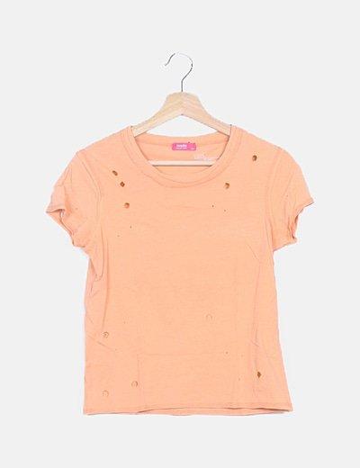 Camiseta básica naranja troquelada