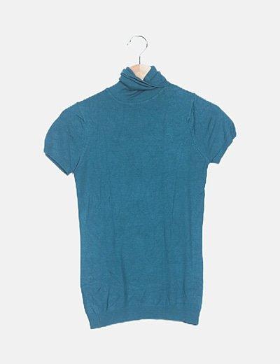Camiseta tricot azul turquesa cuello cisne