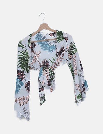 Blusa blanca tropical detalle lazada