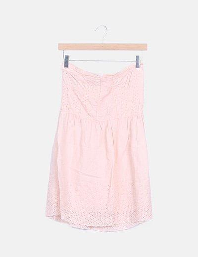 Vestido rosa palabra de honor troquelado
