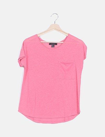 Camiseta rosa jaspeada manga corta