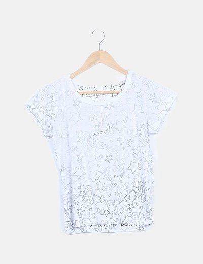 Camiseta blanca print estrellas con strass