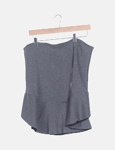 Falda midi gris marengo peplum