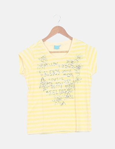 Camiseta básica rayas amarillas