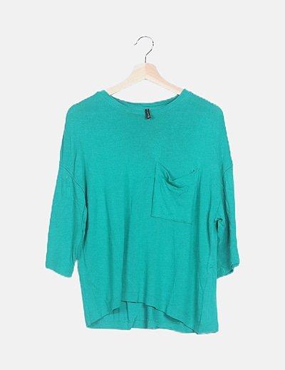 Camiseta tricot verde detalle bolsillo