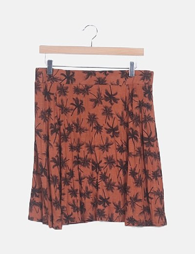 Falda midi naranja estampada