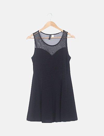 Vestido mini combinado negro