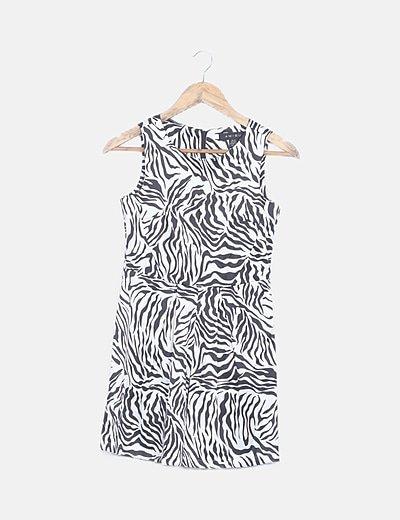 Vestido satinado bicolor animal print