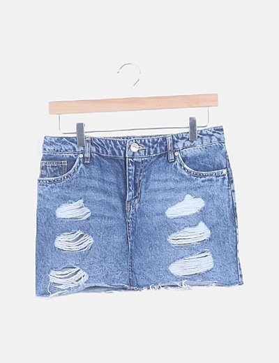 Falda mini denim azul