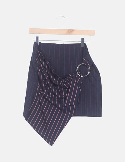 Falda mini azul marino de rayas
