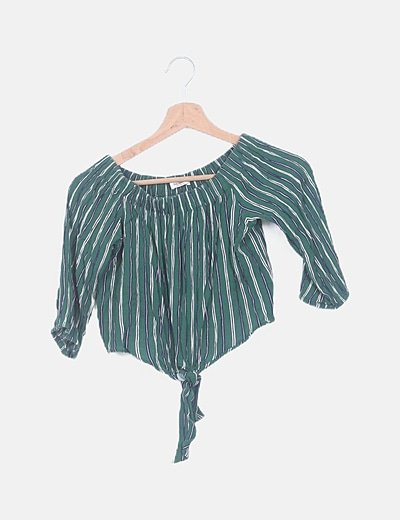 Crop top rayas verde