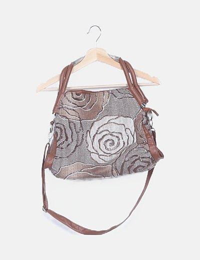 Bolso de hombro marrón print floral