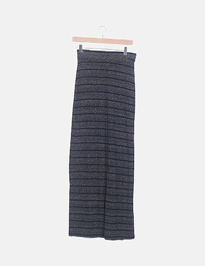 Falda maxi gris marengo de rayas