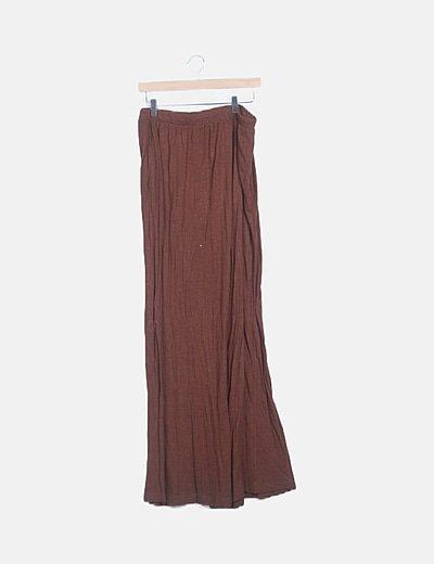 Falda maxi marrón jaspeada