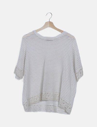Jersey crochet beige