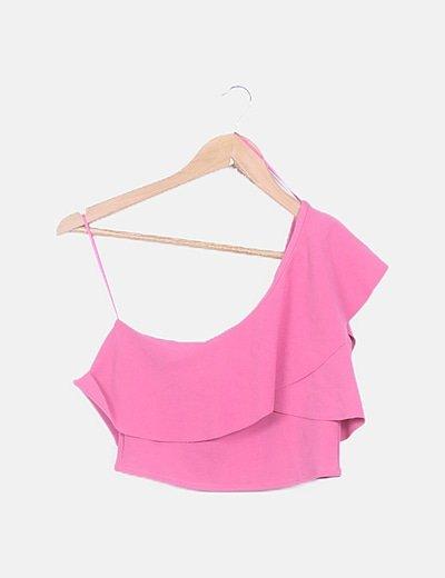 Top corto rosa asimétrico
