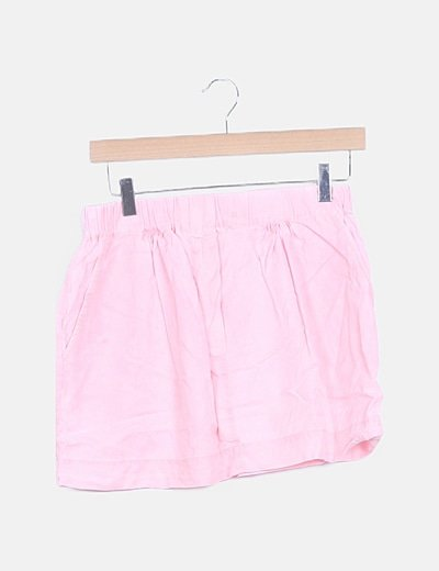 Falda mini rosa con elástico