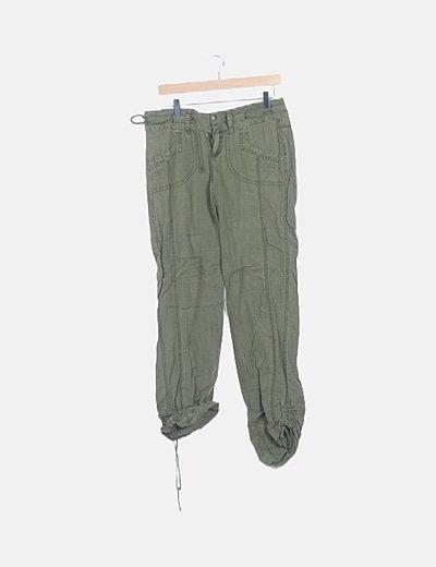 Pantalón fluido verde khaki
