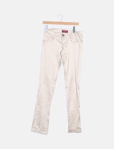 Pantalón beige satinado