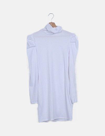 Vestido midi blanco canalé