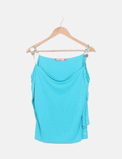 Blusa fluida azul turquesa