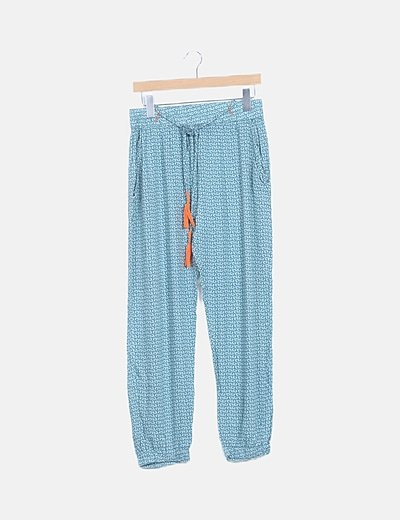 Pantalón fluido azul estampado