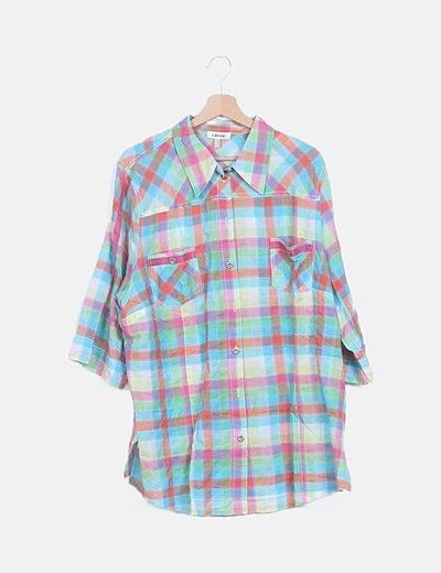 Camisa multicolor de cuadros combinados