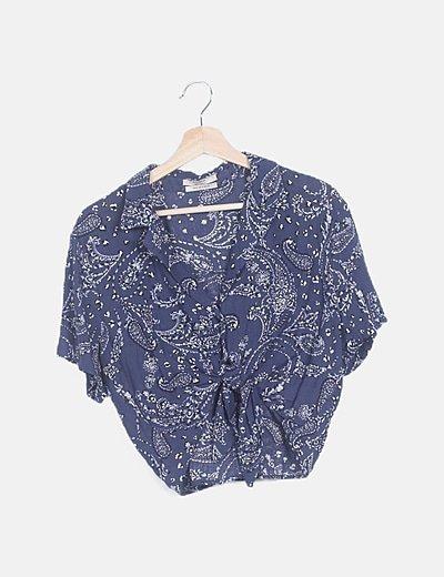 Blusa crop azul marino estampado