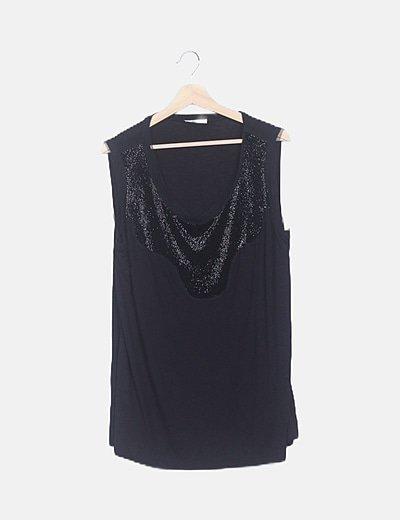 Blusa negra escote glitter